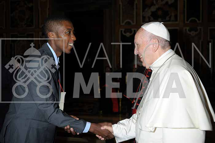 Allen Ottaro meets Pope Francis at the Vatican - Photo Credit_L'Osservatore Romano